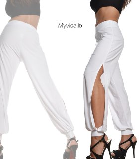 9ff3160af723 Pantalone harem elasticizzato spacchi laterali