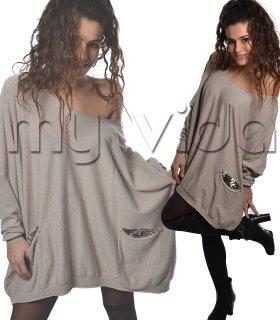 9aa074cee3fc39 Maglione tasche donna maxi maglia paillettes