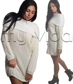 af1a1d51f569d3 Maglione pullover tricot ampio scollo pelo