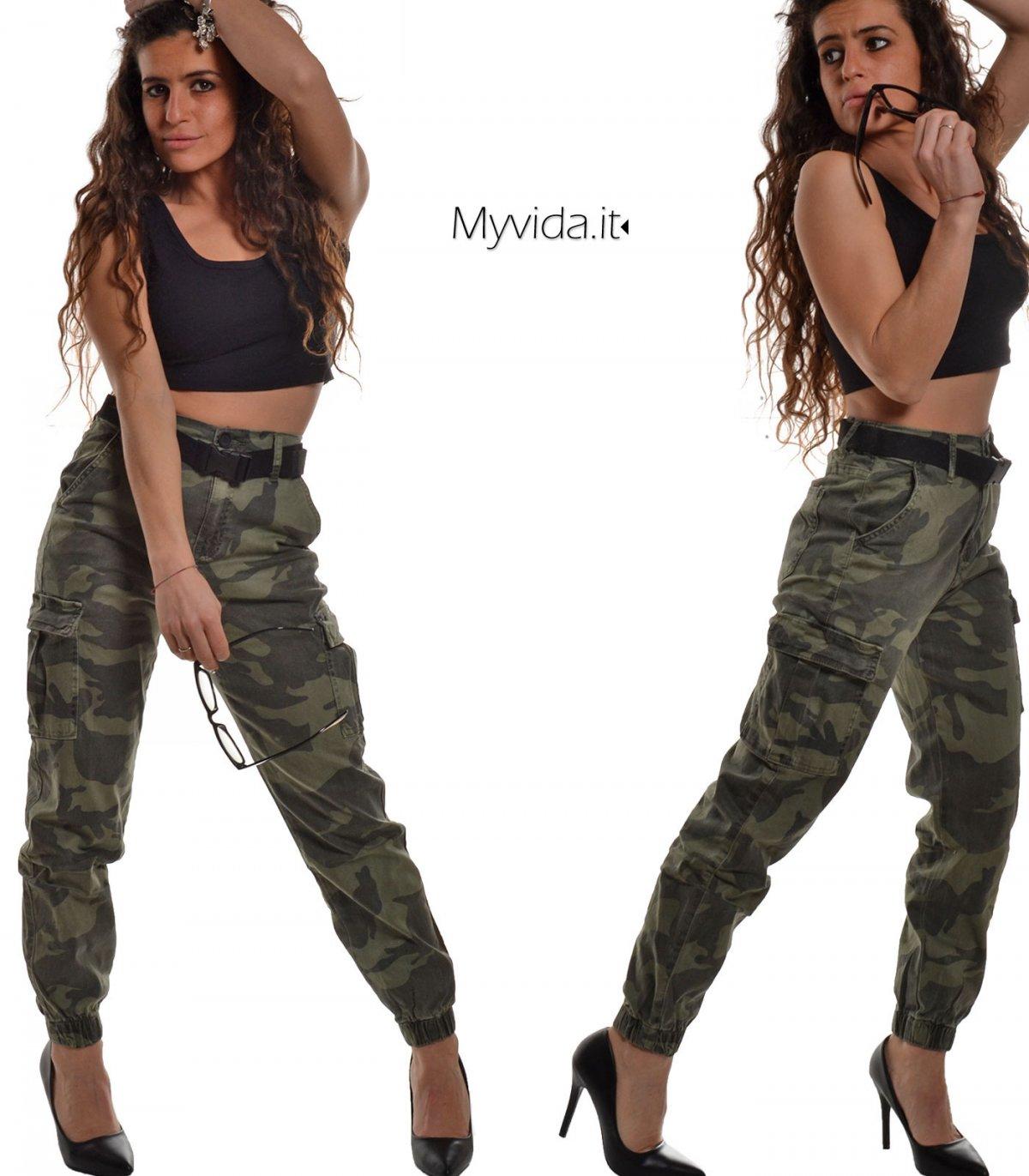 Pantalone donna mimetico militare tasche   My Vida