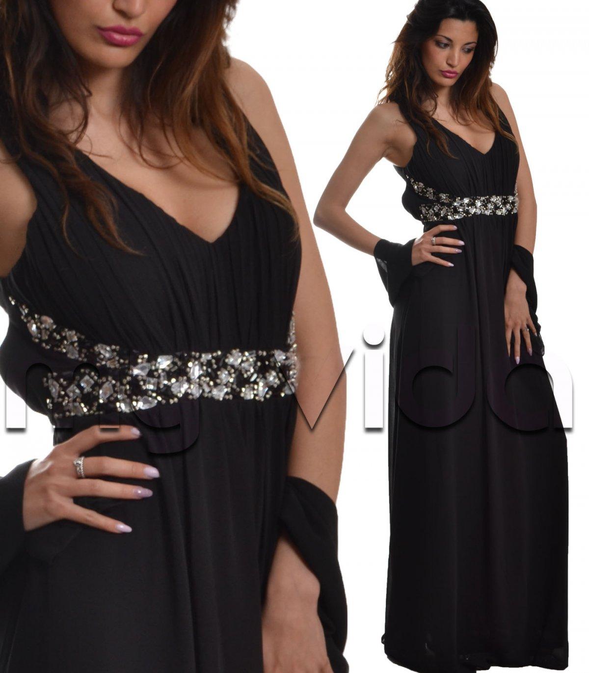 2b1e86eb5a53 Abito da sera lungo donna vestito femminile nero schiena scoperta ...