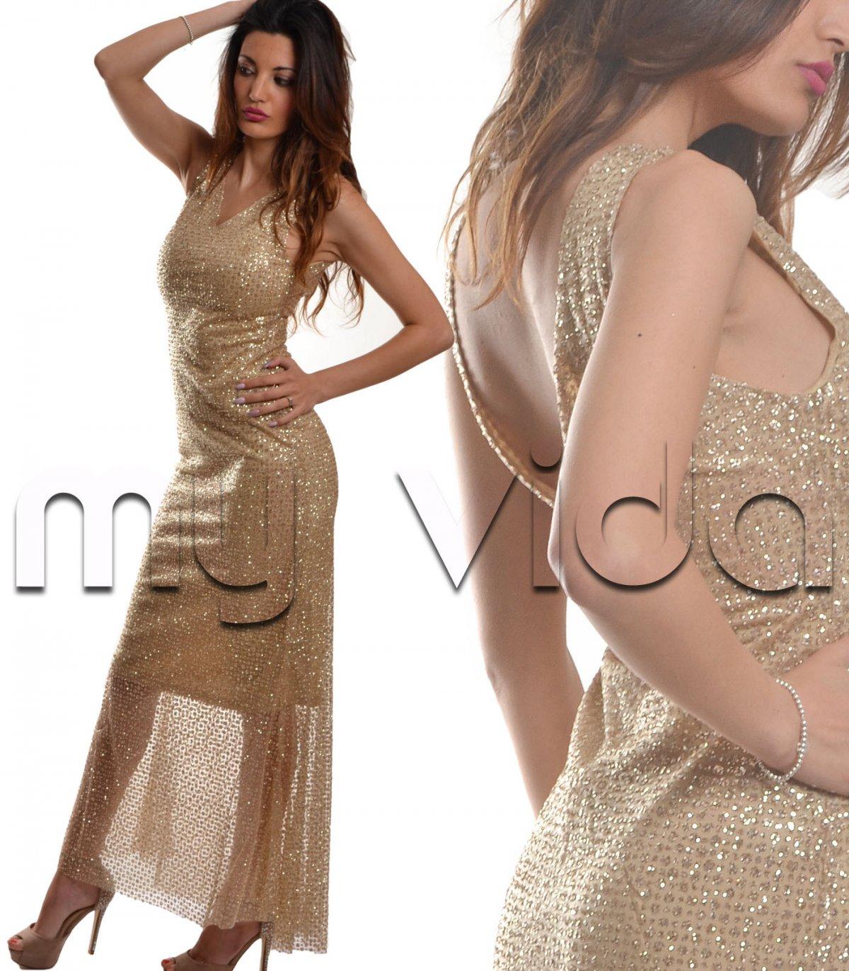 7f01565113c9 Vestiti Lunghi Eleganti Oro
