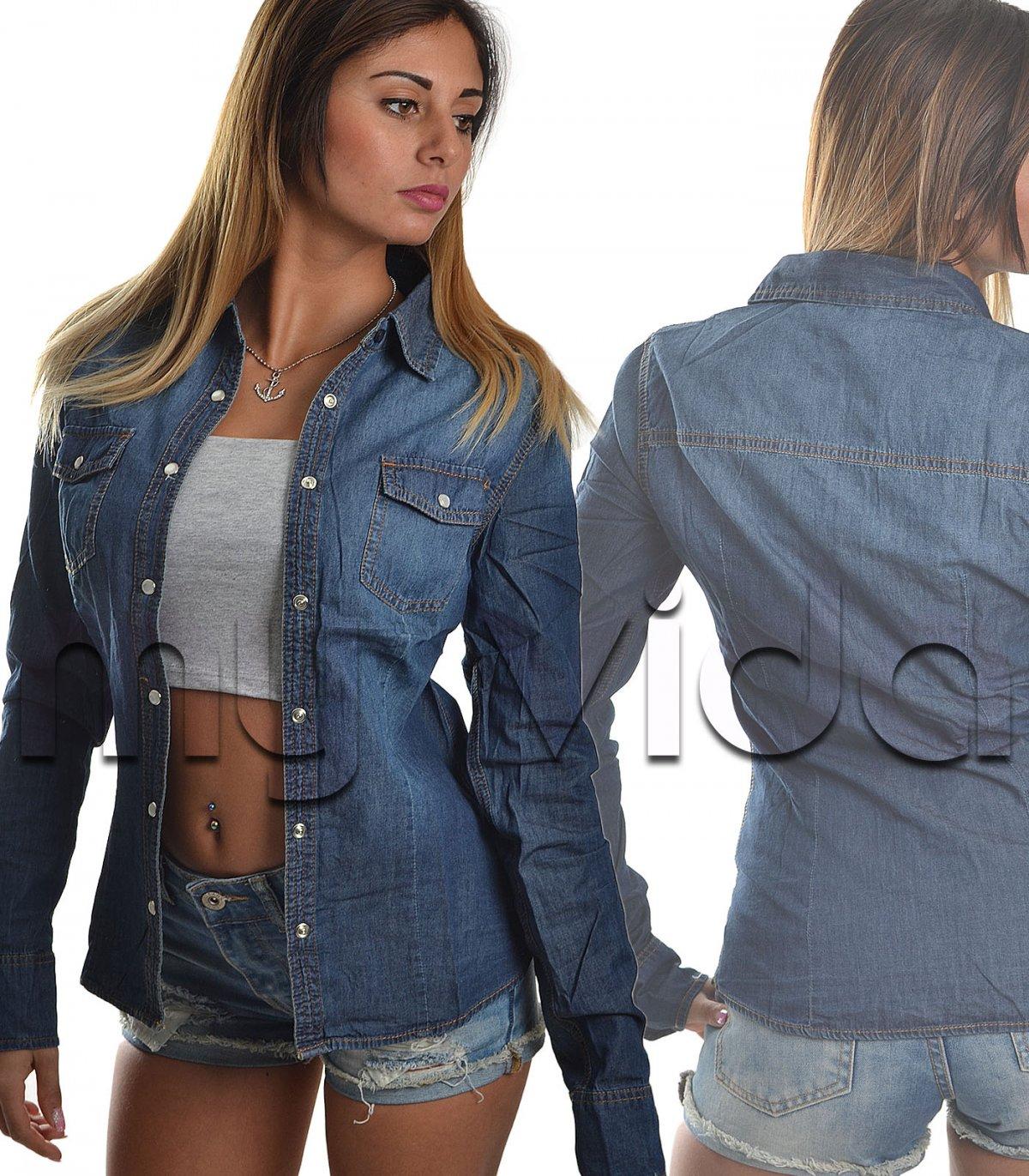 arrives 6b4ce 4acd4 Camicia jeans donna denim giacca casual | My Vida