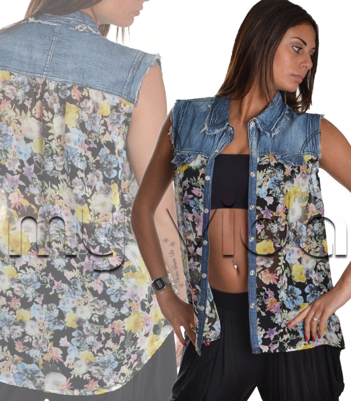 Maglia colletto donna camicia fiorata jeans  88b02b09649