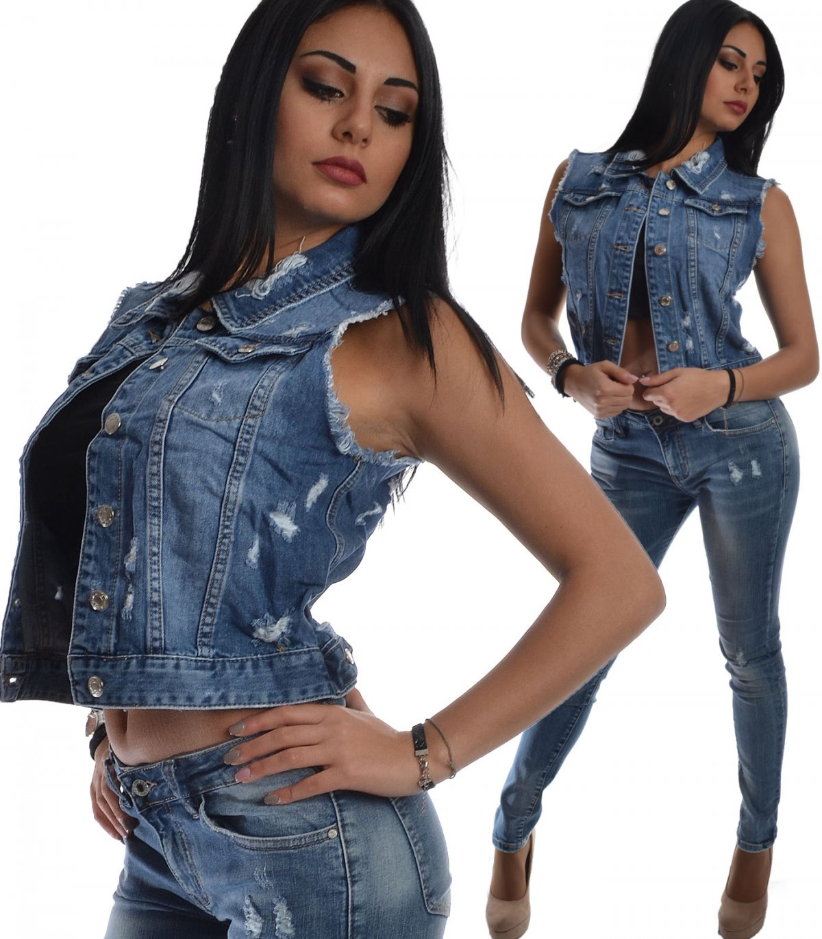 best website a9aac 3037e Giacchetto donna jeans smanicato | My Vida