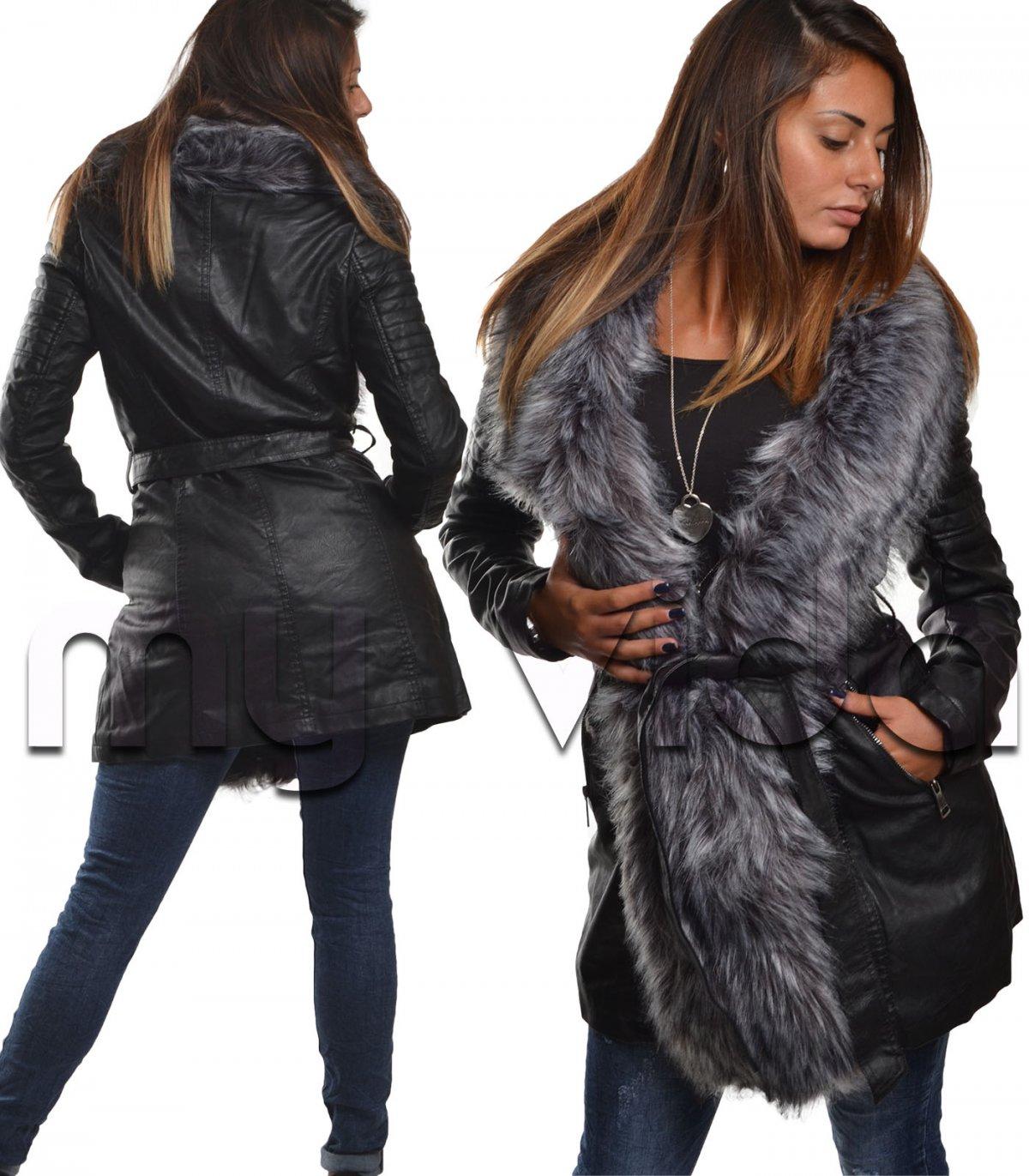 quality design 380b0 d2c08 Giubbotto lungo donna ecopelle pelliccia sintetica | My Vida