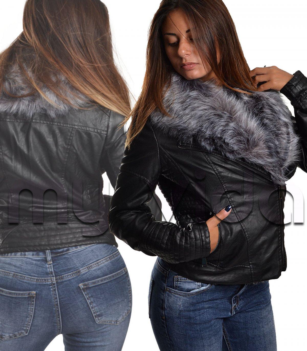 new product ead83 2913f Giacca donna giubbino ecopelle con pelliccia | My Vida