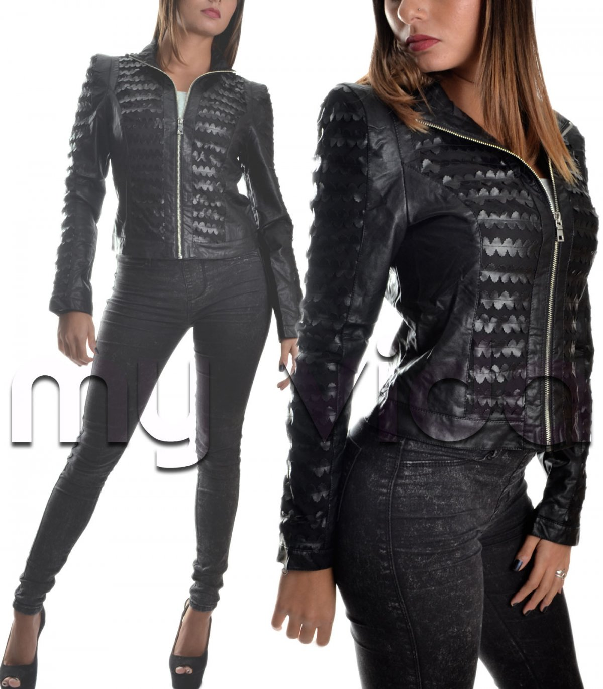 best authentic b4358 2ccf2 Giacca nera donna giacchetto ecopelle slim | My Vida