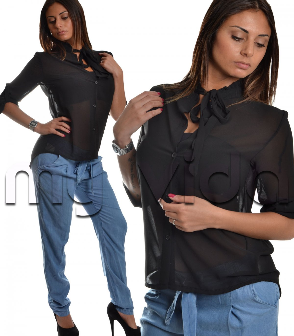 low priced 4f904 7492a Maglia chiffon donna camicia coprispalle nero | My Vida