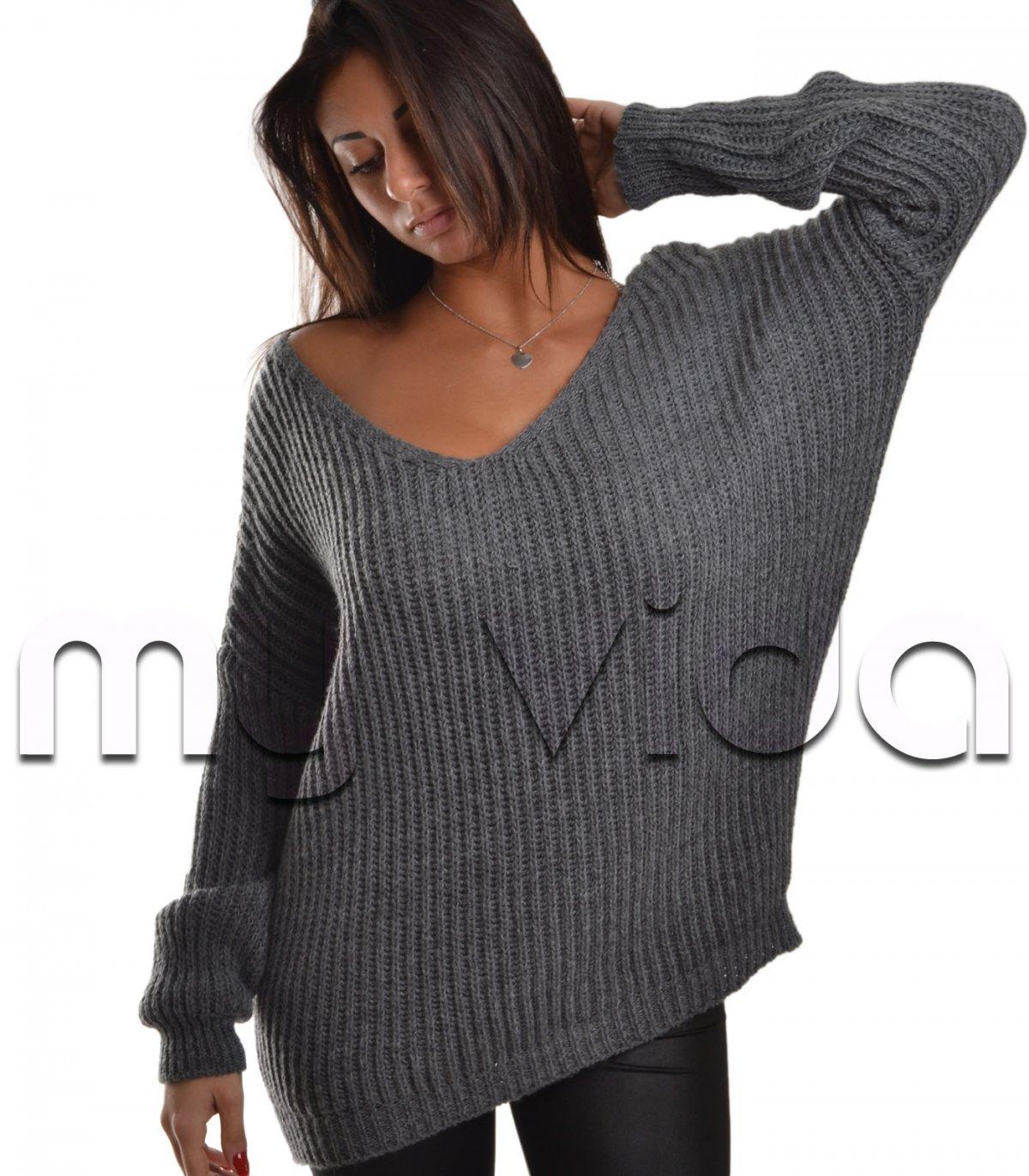 maglione scollo v donna