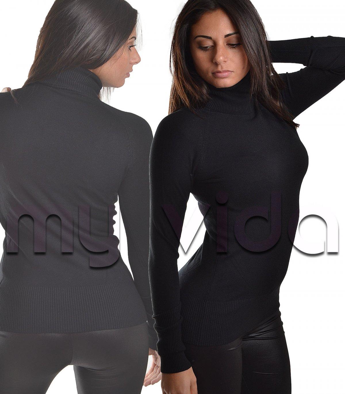 6608d80b060d0f Collezione donna capi basic maglione collo alto pullover dolcevita   My Vida