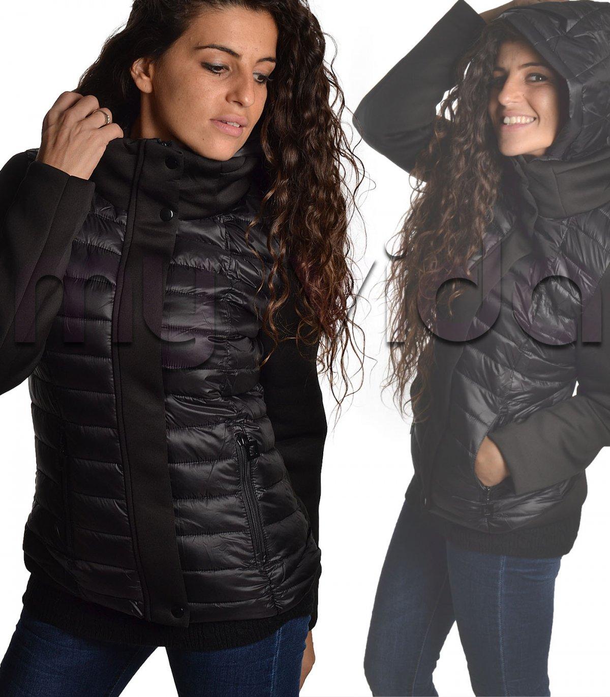 Piumino donna cappuccio zip doppio tessuto 50458e63afe
