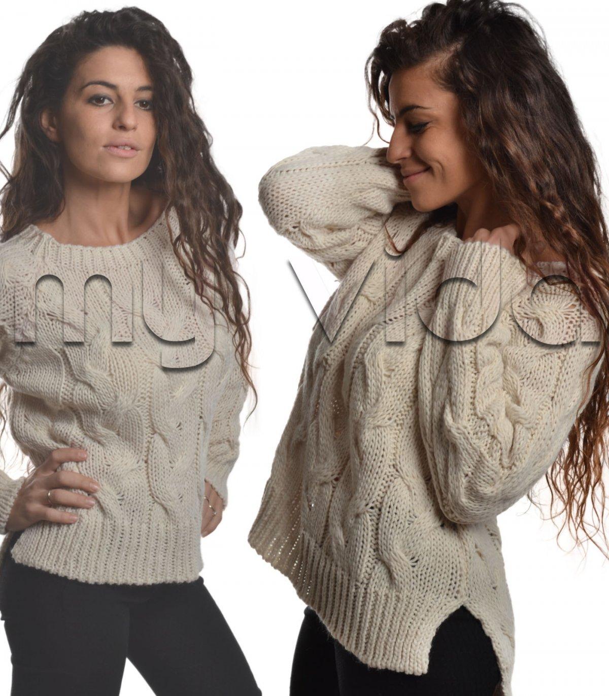 huge selection of 94701 1cd5d Pullover trecce collo barca spacchi laterali | My Vida