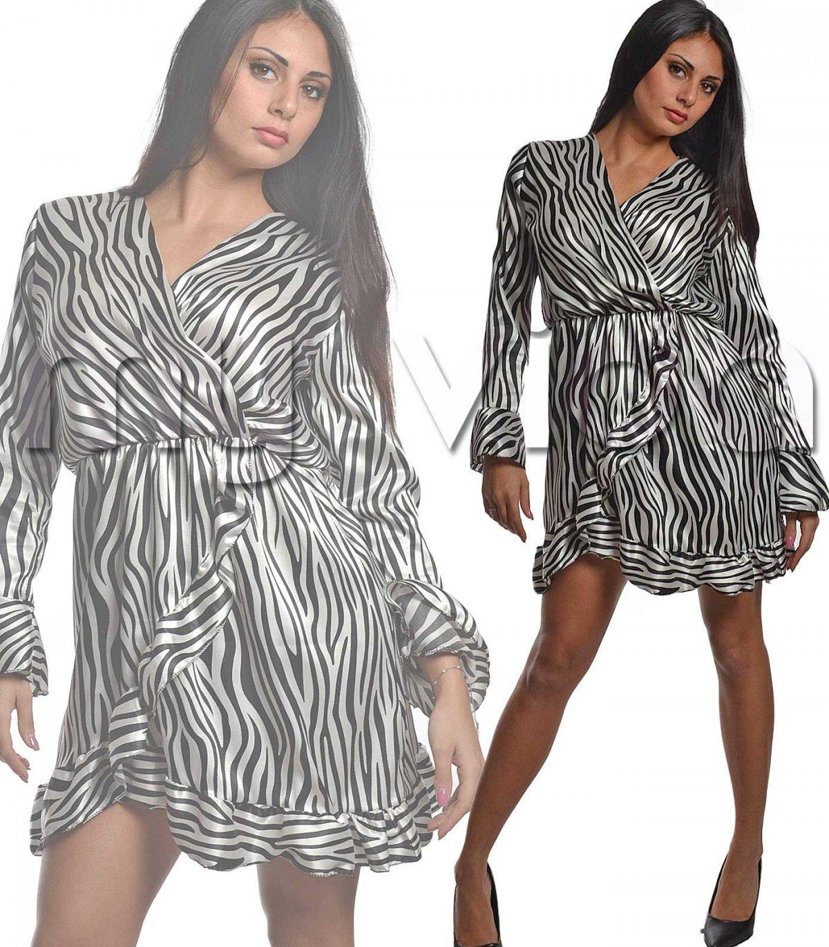 super popular 5f1b0 20c50 Vestito zebrato donna cintura vita maniche balze | My Vida