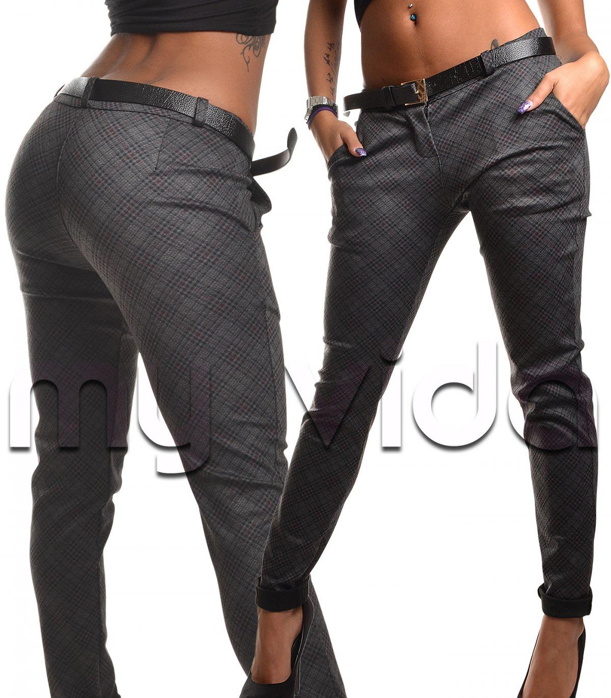 c2c8bb4386ee96 Pantaloni donna eleganti skinny slim scozzesi