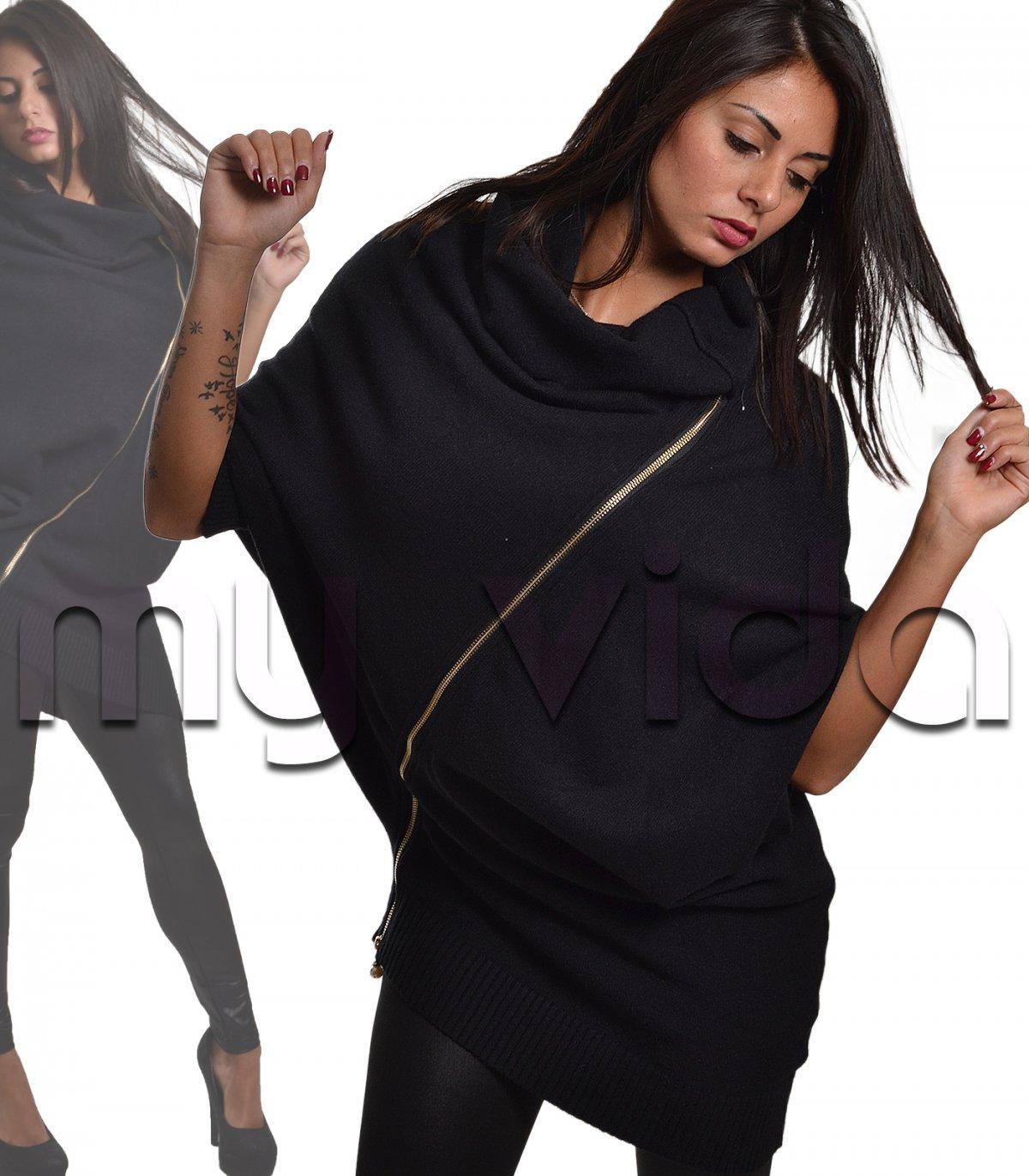 d2758b735b8a39 Maxi pullover donna asimmetrico oversize zip | My Vida