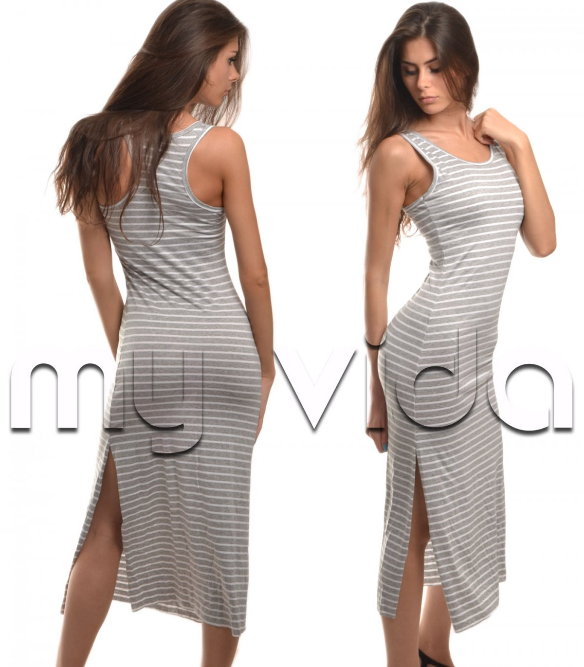 lowest price 8fed1 2f3c0 Moda mare vestito lunghe righe donna dress summer | My Vida