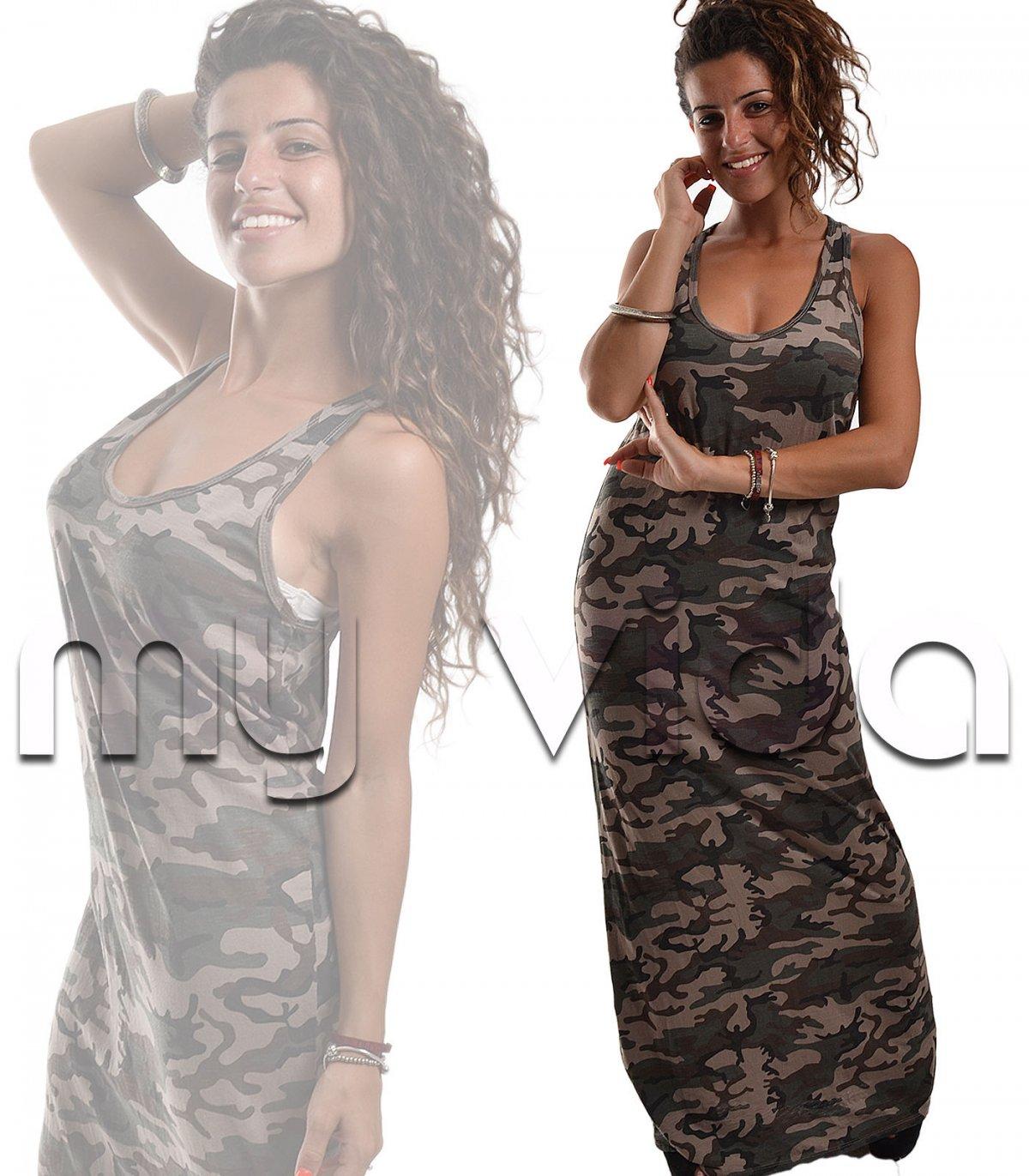 sports shoes 994e6 5ef16 Abito donna lungo canotta mimetico camouflage militare   My Vida