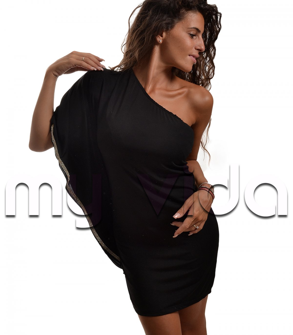 new arrival 10cec fdaac Abito monospalla donna corto elegante strass | My Vida